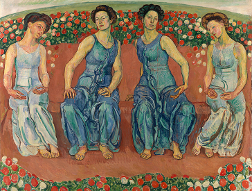 Painting with four female figures and flowers