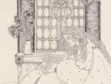 Zeichnung einer jungen Frau, die in einem Tagebuch blättert. Sie sitzt innen vor einem Fenster.