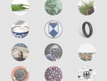 Vier Reihen mit jeweils drei runden, gucklochartigen Bildausschnitten, die unterschiedliche Motive zeigen