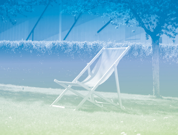 Grafik in Blau-Grün-Tönen: Liegestuhl im Museumsgarten, im Hintergrund die Fassade des Libeskind-Baus