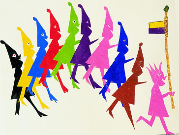 The poster shows a group of colorful figures following a flag bearer. Below (in handwriting): I say in the Hanswurstenwelt a flag pleases well.
