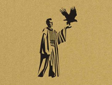 Das Cover zeigt auf goldenem Hintergrund eine schwarze Figur. Ihr linker Arm ist erhoben, auf ihrer Hand setzt ein Adler zum Flug an.