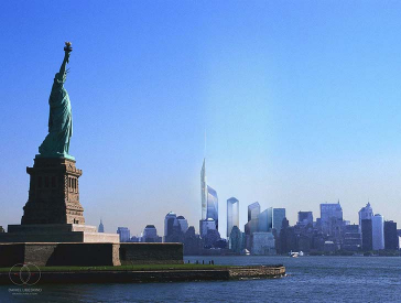 3D rendering of New York skyline with Statue of Liberty and sketch of World Trade Center area
