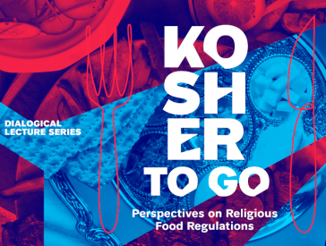 Event graphic: Red and blue collage showing photo cutouts of food and silverware. Inscription in white: Kosher to go