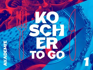 Grafik zur Veranstaltung: Rot-blaue Collage, die Fotoausschnitte von Speisen und silbernem Geschirr zeigt. Aufschrift in weiß: Koscher to go 1