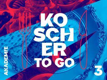 Grafik zur Veranstaltung: Rot-blaue Collage, die Fotoausschnitte von Speisen und silbernem Geschirr zeigt. Aufschrift in weiß: Koscher to go 3