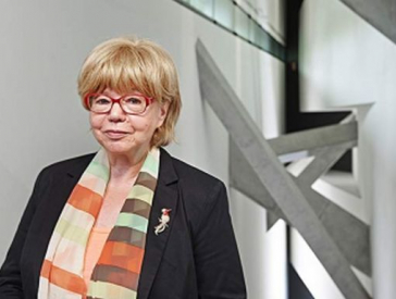 Portrait photo of Cilly Kugelmann, photographed in the Libeskind Building
