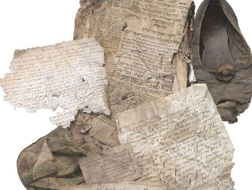 Various crumpled documents with Hebrew letters, a shoe and a bag
