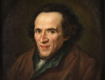 Oil painting: portrait of Moses Mendelssohn depicted in half profile in a painted oval frame, eyes are directed to the viewers.