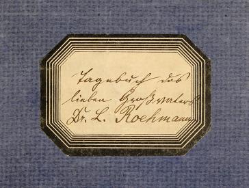 Etikett auf einem Tagebuch