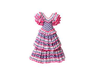 Blue dress with white dots and pink, blue and white ruffles
