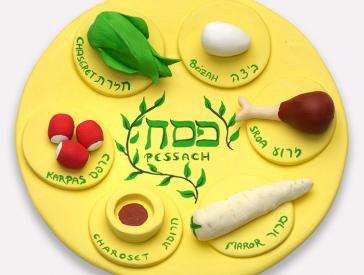 Gelber Ton-Teller mit verschiedenen Kräutern und Gemüse, hebräisch beschriftet