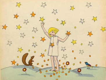 Illustration of a child in a nightgown among lots of falling stars, which the child is grasping in its hands; next to the child there's a squirrel and a small bird