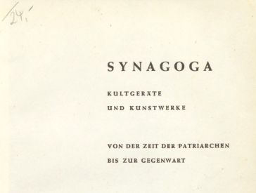 The first page, also called the half-title page, of the work Synagogues, catalog of the exhibition in Recklinghausen