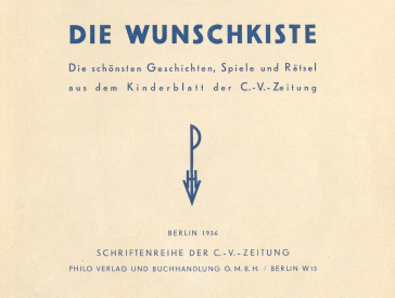 first page, also called the half-title page, of the Wunschkiste book.