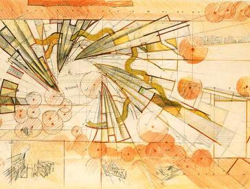 Farbige Entwurfszeichnung von Zvi Hecker mit Spirale aus Keilen, Halbzylindern und Pyramiden