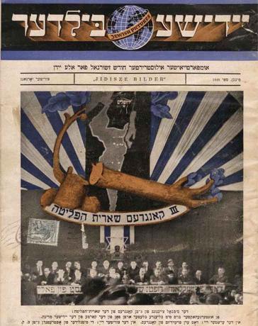 Titelblatt einer Zeitschrift mit kolorierter Fotografie von Menschen an einem Tisch, darüber das Symbol des gefällten Baums mit frischem Trieb