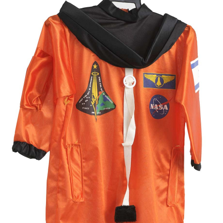 Orange astronaut costume with embroidered symbols, for example of the NASA