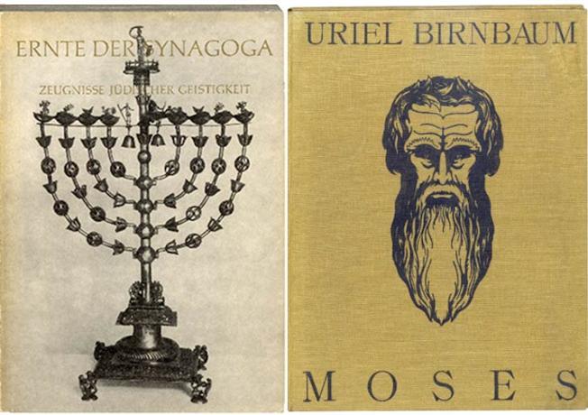 2 Buchcover, das Buch Moses von Uriel Birnbaum und Ausstellungskatalog zur Ausstellung Synagoga