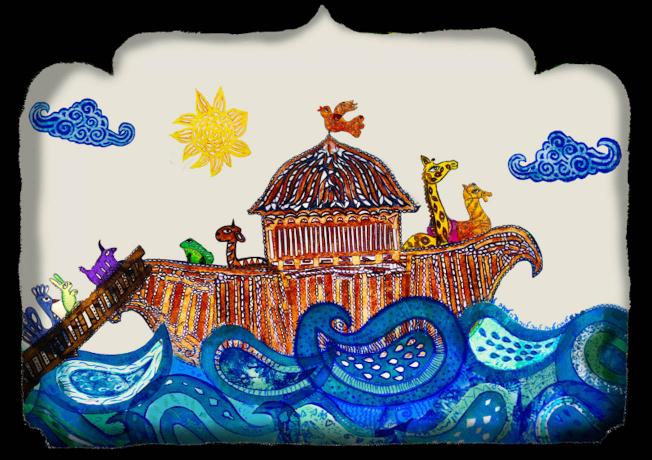 Darstellung der Arche Noah mit Tieren im bunten Karagöz-Schattentheater-Stil