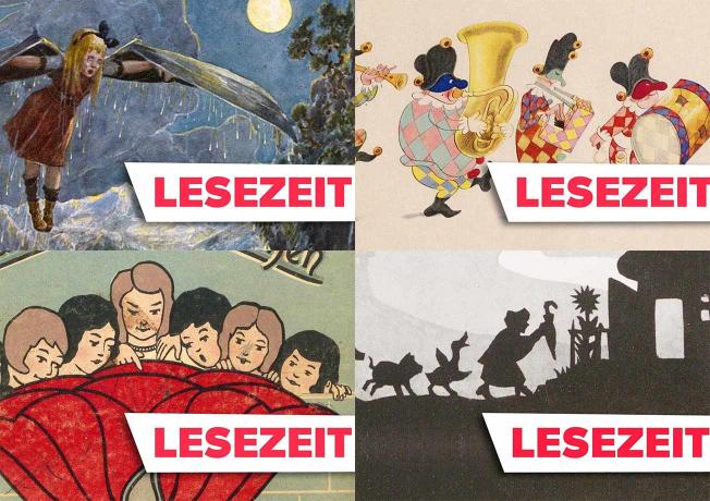 Vier Kinderbuch-Cover, darüber die Aufschrift Lesezeit