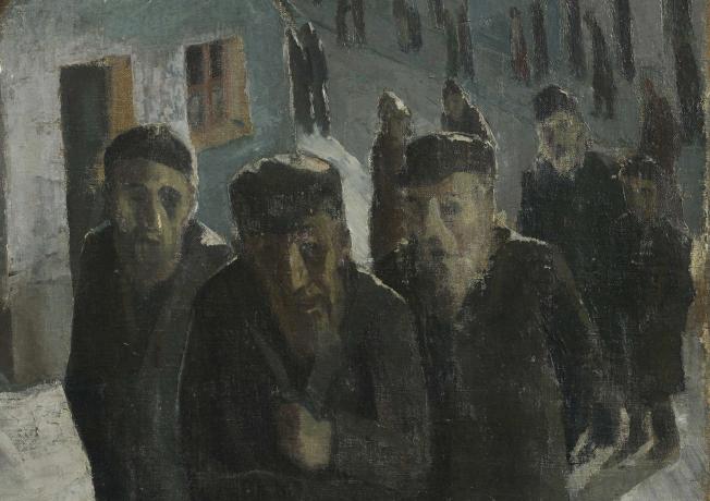 Die Malerei auf dem Weg ins Gebethaus zeigt eine Schlange älterer Menschen in einer Dorf ähnlichen Kulisse