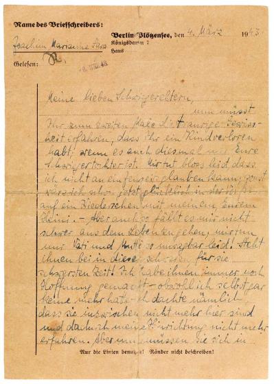 Handwritten letter on a letterhead form from Berlin-Plötzensee