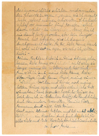 The back of the letter transcribed in continuous text