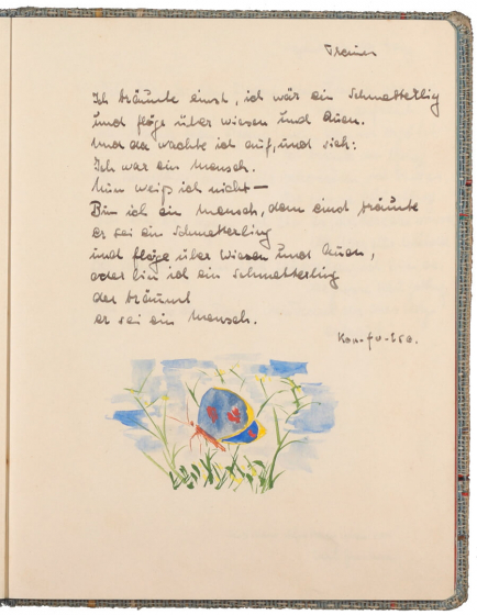 Text handwritten in ink above a color drawing of a butterfly