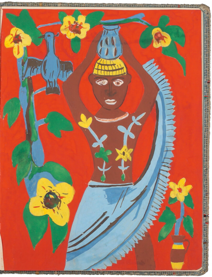 "Color drawing of an ""African water carrier"" on an orange background with a flowering vine and a blue bird"