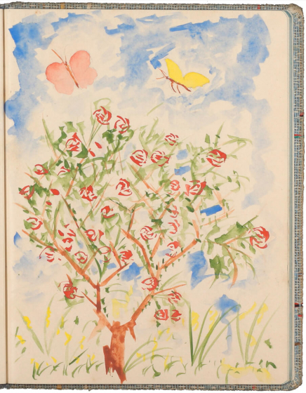 Color drawing of a tree with red leaves beneath two butterflies against a blue sky
