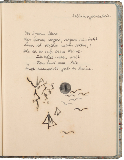 Text handwritten in ink above a black-and-white drawing of a black moon and stylized birds