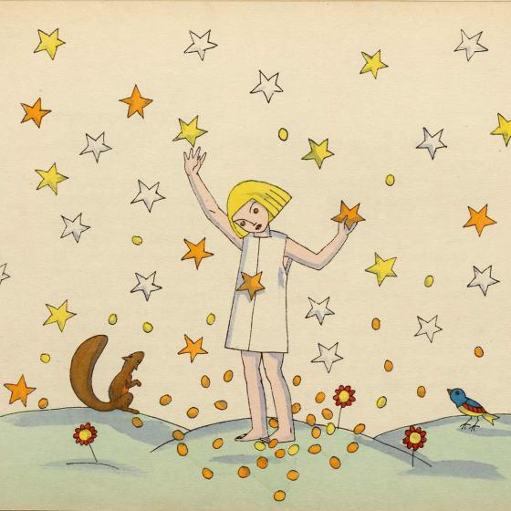 Illustration eines Kindes im Nachthemd zwischen lauter herunterfallenden Sternen, die es mit den Händen greift, daneben ein Eichhörnchen und ein Vögelchen