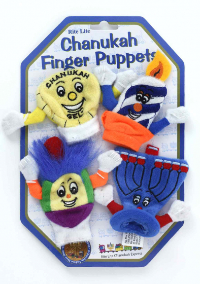 Small colorful finger puppets attached to cardboard packaging. They personify a piece of Hanukkah gelt (a chocolate coin), a burning Hanukkah candle, a dreidel, and a Hanukkah menorah. Each of the puppets has an embroidered face and outstretched arms.