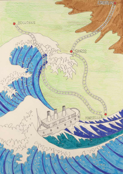 Links unten im Bildvordergrund ist eine riesige gezeichnete Welle, die ein kleines Schiff unter ihr bedroht. Weiter oben ist ein Ausschnitt Europas mit Bahnschienen eingezeichnet, sie verbinden die Stationen Berlin, Paris, Marseille und Boulogne