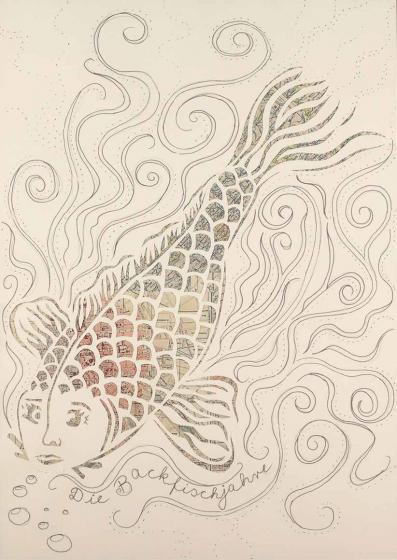 Zeichnung eines Fischs mit bunten Schuppen. Der Fisch trägt die Gesichtszüge einer jungen Frau und schaut den*die Betrachter*in an