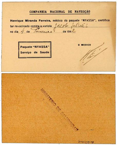 Handschriftlich ausgefüllter portugiesischer Vordruck, auf der Rückseite ein Stempel vom MINISTERIO DE SALUBRIDAD