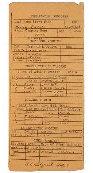 Immunization Register, Vordruck, handschriftlich ausgefüllt, englisch, 1941-1944