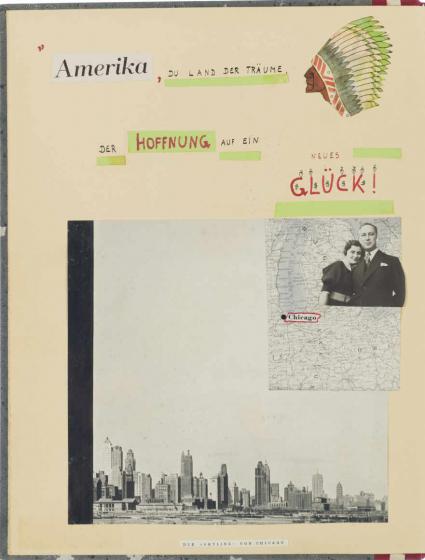Seite in einem Heft, auf denen Amerika und Hoffnung steht, der Kopf eines Ureinwohners Amerikas mit Federschmuck, Fotographien von New York, zwei Menschen und eine Karte