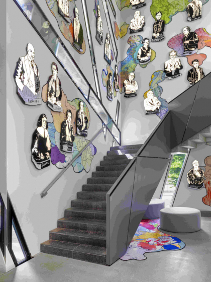 Stairs with illustrations of people on the wall