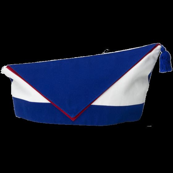 Handgefertigtes blau-weiß-rotes Krätzchen des jüdischen Karnevalsvereins Köllsche Kippa Köpp e.V.