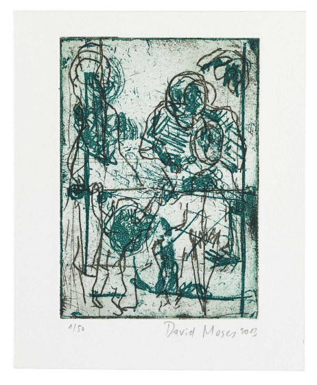 Abstract drawing of dark green and black figures, the strokes are harsh and energetic