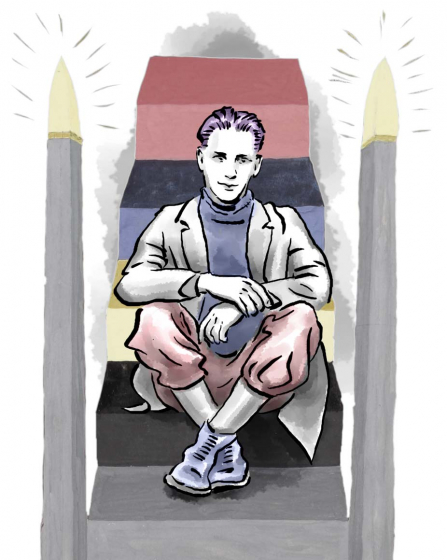 Drawing: a male teenager sitting on a staircase with steps in different colors flanked by lit-up columns