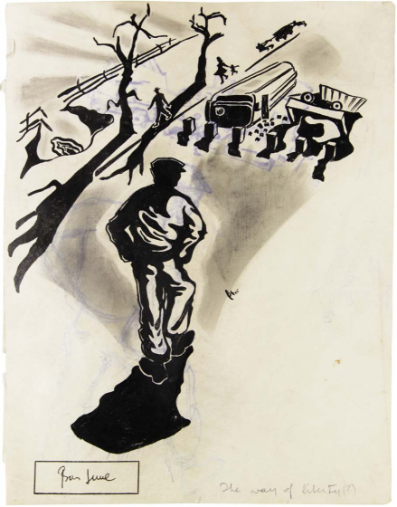 Expressionistic black and white drawing of the silhouettes of men, children, and trees