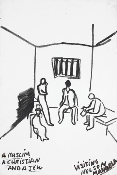 Vier Figuren in einer Zelle mit vergittertem Fenster und Pritsche