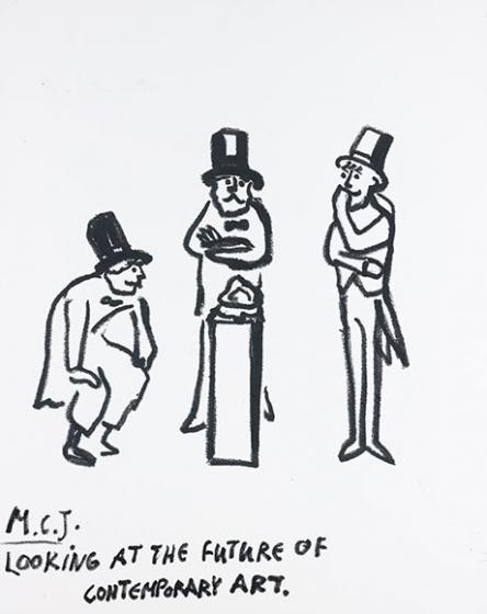 Zeichnung dreier Männer, die ein Objekt auf einer Säule betrachten