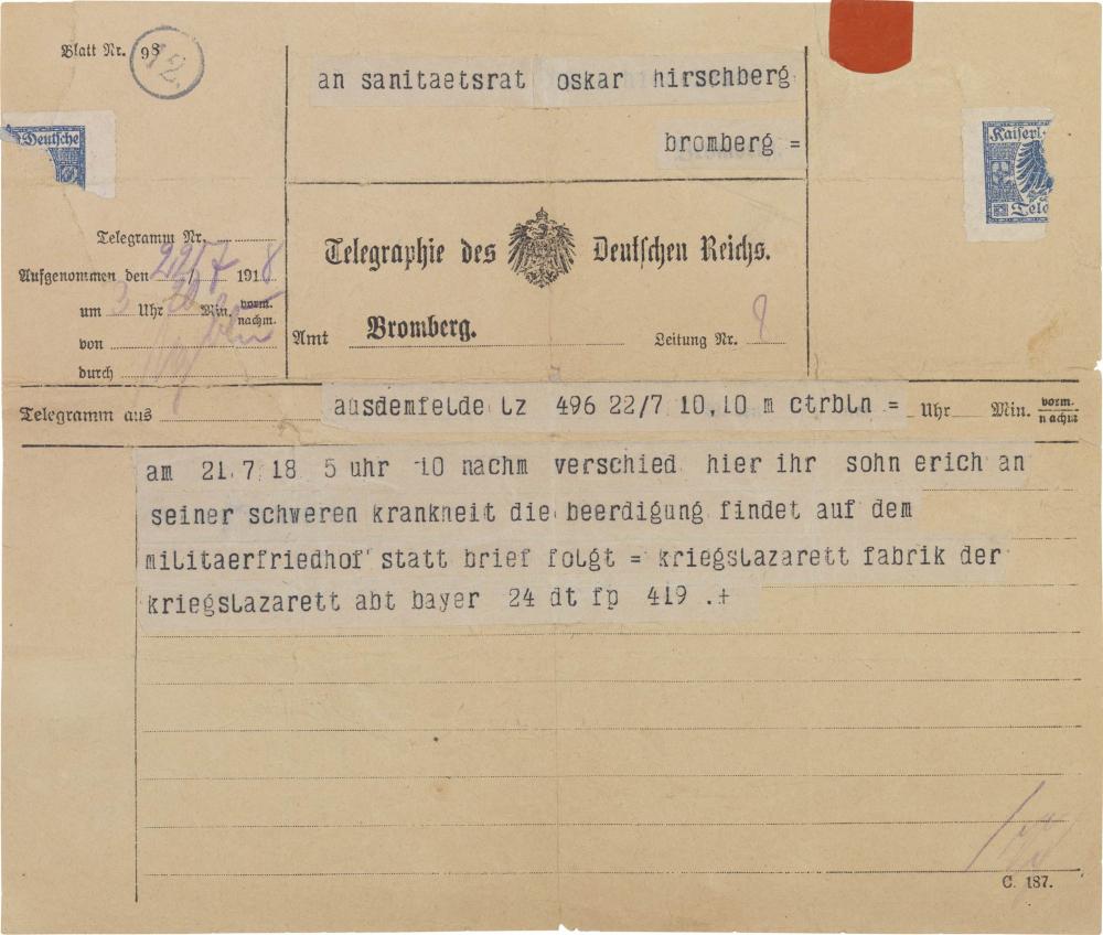 Telegram, pre-printed, handwritten and typewritten text