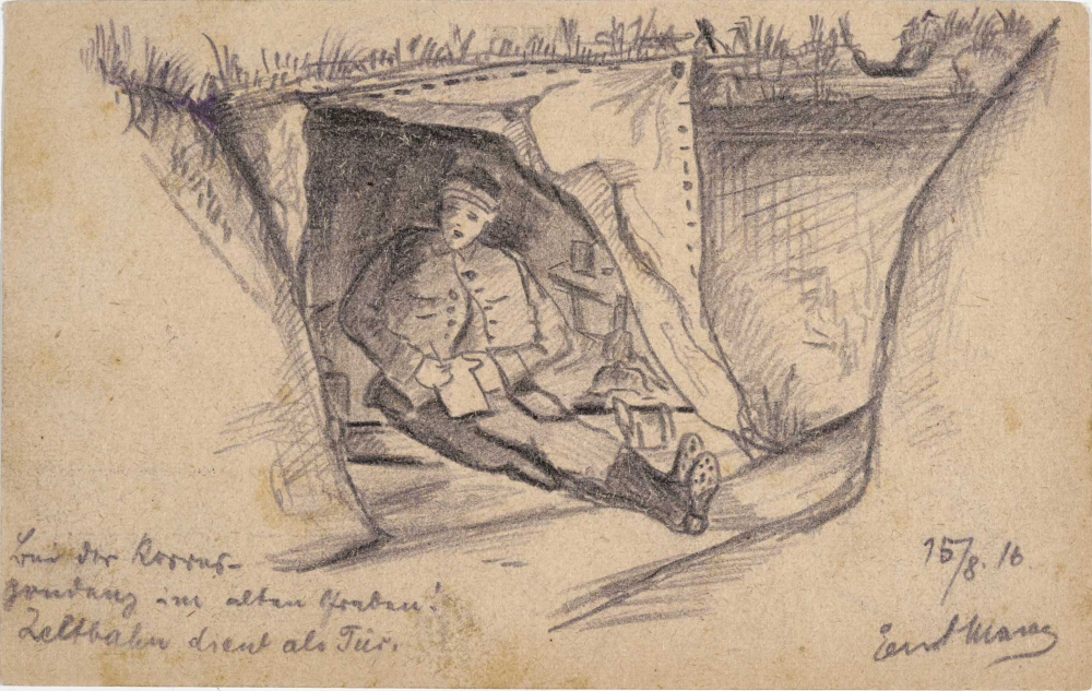 rawing, graphite: Soldier writing while sitting in a make-shift shelter in a trench