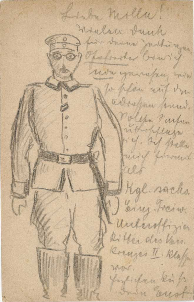 Drawing, graphite: Soldier (knee-length, frontal view, standing) with a decoration on the second buttonhole of his uniform ja
