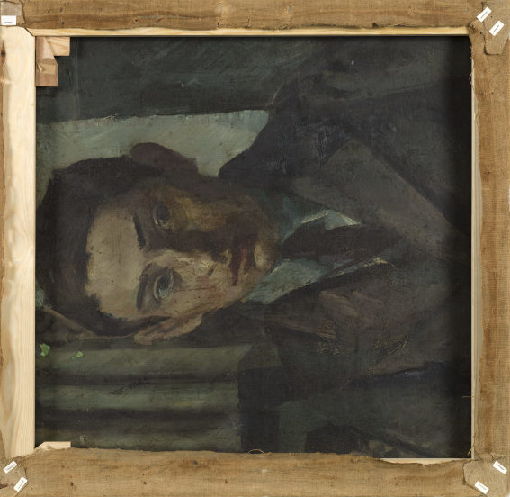 Ölmalerei auf Leinwand: abgebildet ist das Porträt eines jungen Mannes innerhalb der Rückseite des Holzrahmens.